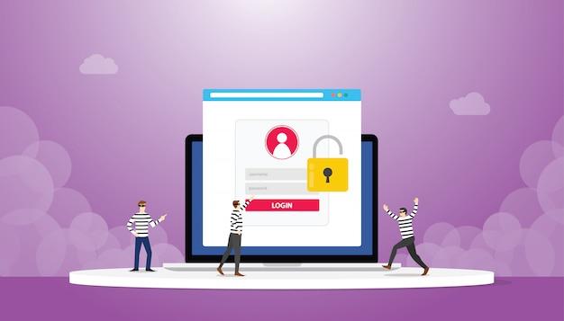Robar phishing de contraseña de inicio de sesión de datos de información con el equipo de ladrones con estilo plano moderno Vector Premium