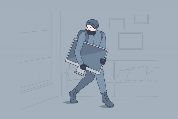 Robo, crimen, robo, concepto de robo Vector Premium