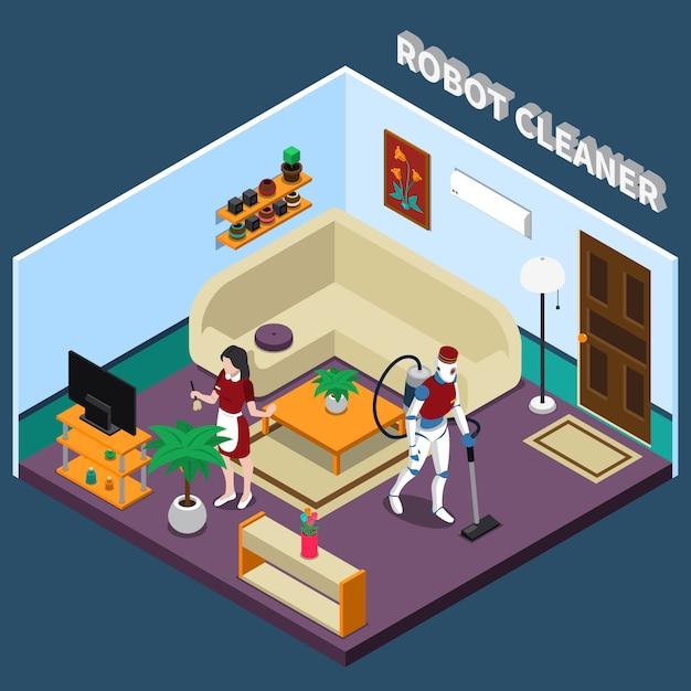 Robot ama de casa y profesiones más limpias vector gratuito
