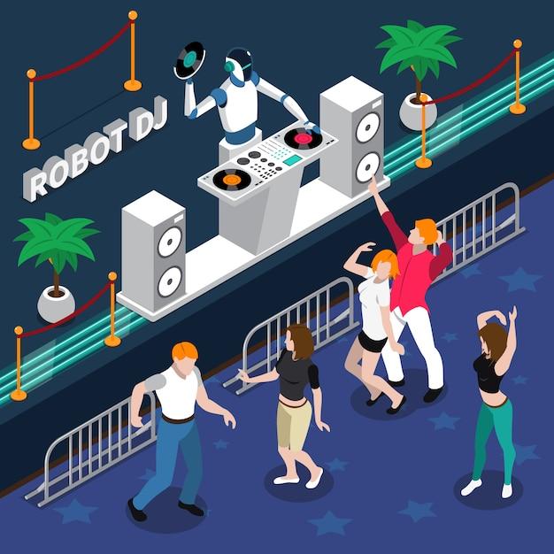 Robot dj y gente bailando en la fiesta vector gratuito