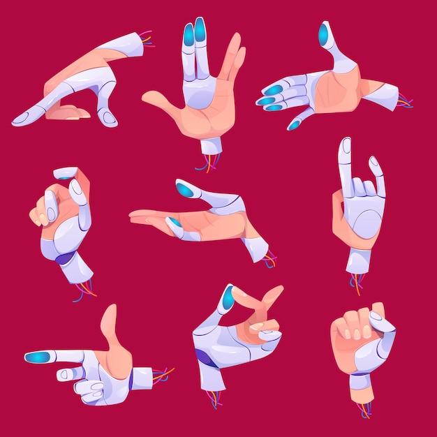 Robot gestos con las manos en diferentes posiciones establecidas. vector gratuito