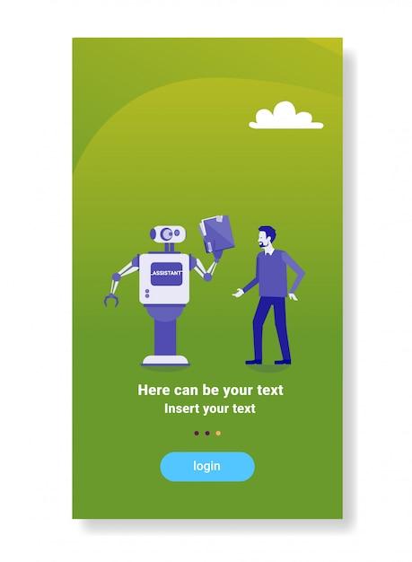 Robot moderno dando empresario documentos carpeta mecanismo de inteligencia artificial tecnología asistente concepto Vector Premium