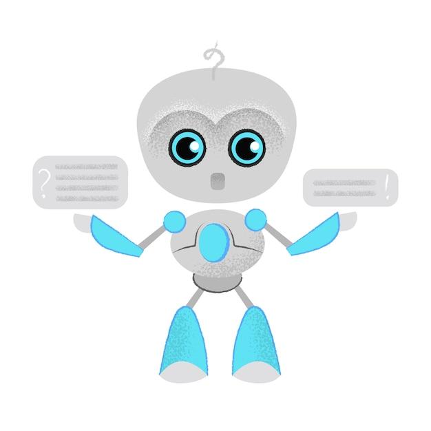 Robot parlante sorprendido y bocadillo. chatbot, dialogo, lección online. vector gratuito