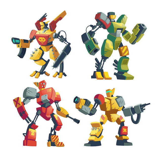 Robots De Combate De Dibujos Animados Batalla De Androides