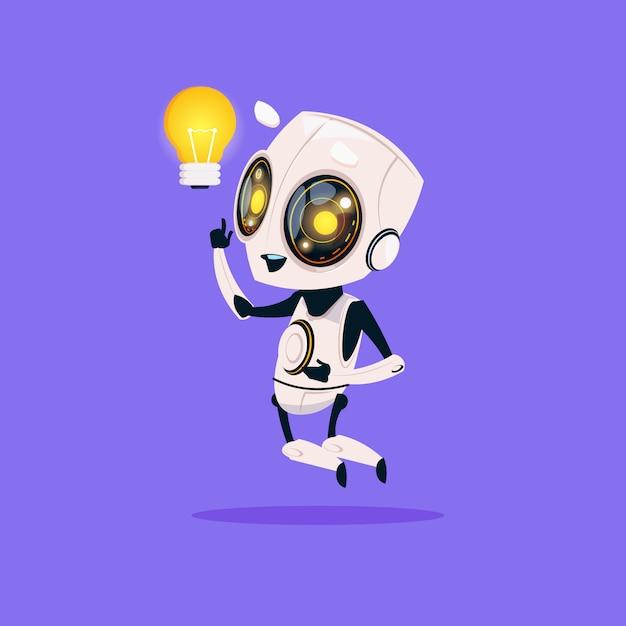 Robusteza linda sostener el icono aislado de la bombilla en el fondo azul inteligencia artificial de la tecnología moderna Vector Premium