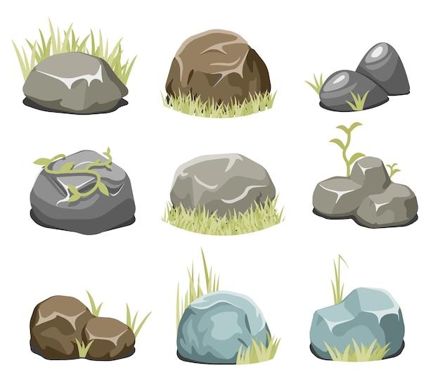 Rocas con pasto, piedras y pasto verde. roca de la naturaleza, ilustración al aire libre, vector de planta ambiental. vector de rocas y piedras de vector vector gratuito