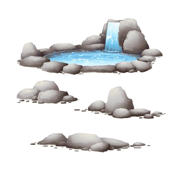 Rocas y piedras. elementos de la naturaleza Vector Premium