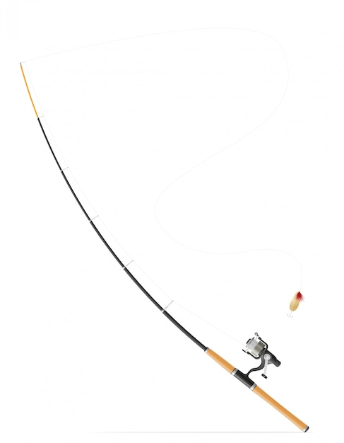 Rod girando para la pesca ilustración vectorial Vector Premium