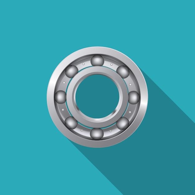 Rodamiento de bolas con sombra larga. Vector Premium