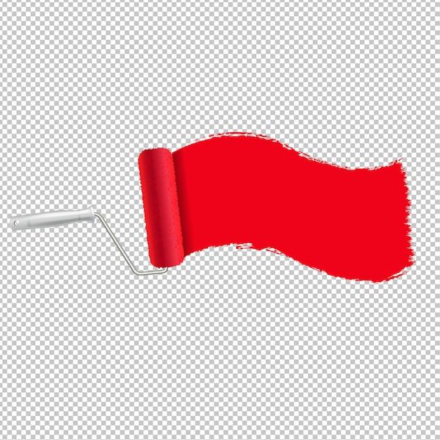 Rodillo de pintura roja y trazo de pintura de fondo transparente Vector Premium