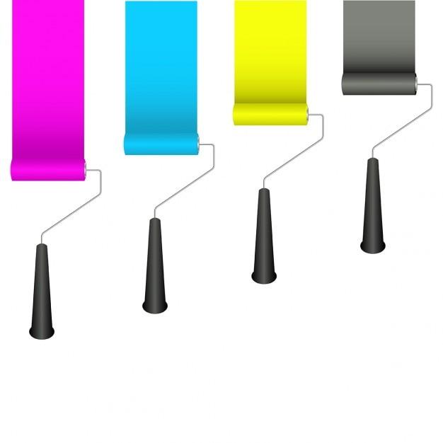 Rodillos de pintura con los colores cmyk | Descargar Vectores gratis