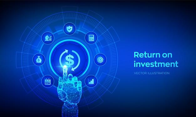 Roi concepto de negocio y tecnología de retorno de la inversión. mano robótica conmovedora interfaz digital. Vector Premium