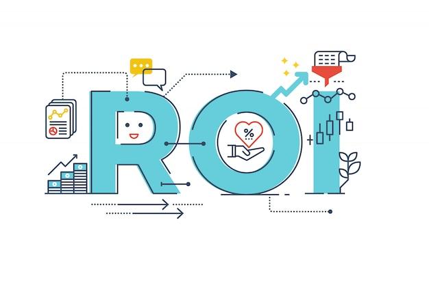 Roi: ilustración de diseño de tipografía de letras de palabra de retorno de inversión Vector Premium