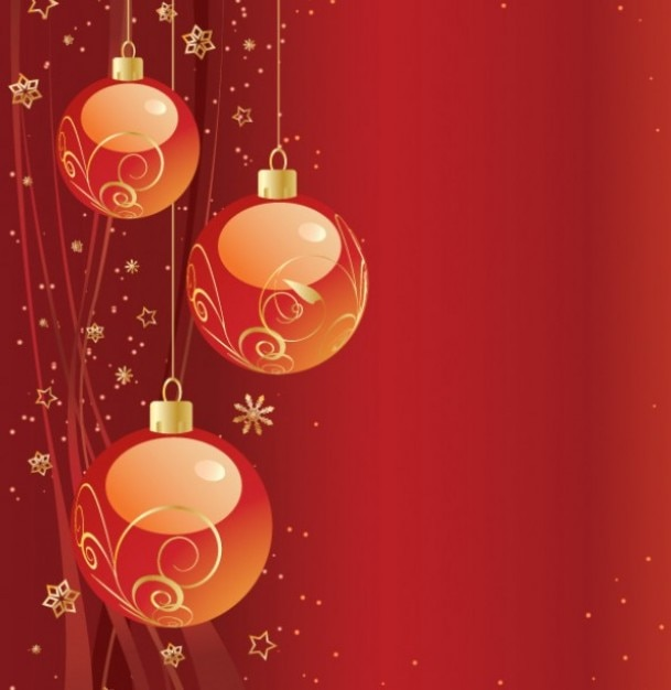 Red Ornament Christmas Vector Backgrounds