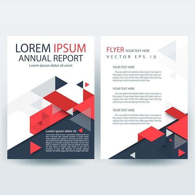 Rojo y gris Plantilla de portada de informe creativo con formas ...