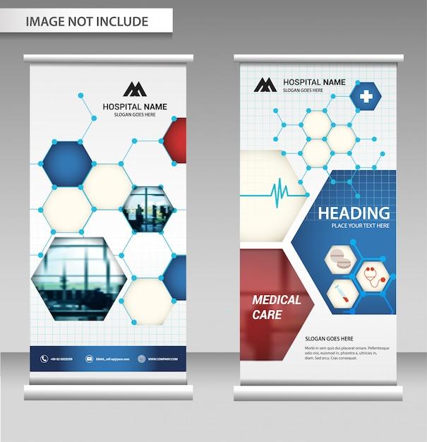 Roll up banner diseño de negocios en el fondo. Vector Premium