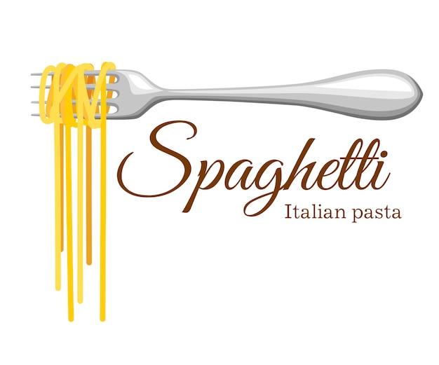 Rollo de pasta en el tenedor. pasta italiana con silueta de tenedor. tenedor negro con espaguetis sobre fondo amarillo. mano sosteniendo un tenedor con espaguetis. Vector Premium