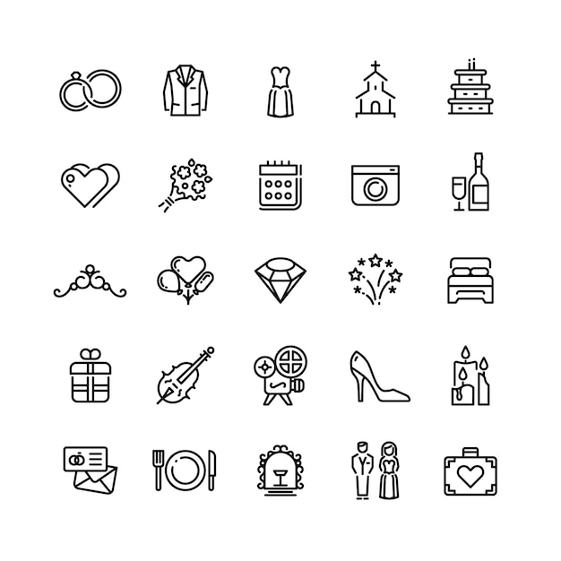 Romance boda celebración y amor en los iconos de línea de vector de matrimonio Vector Premium