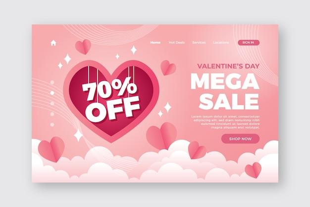 Romántica página de inicio del día de san valentín Vector Premium