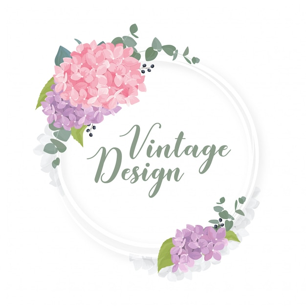 Romántico marco redondo floral con flores de acuarela | Descargar ...