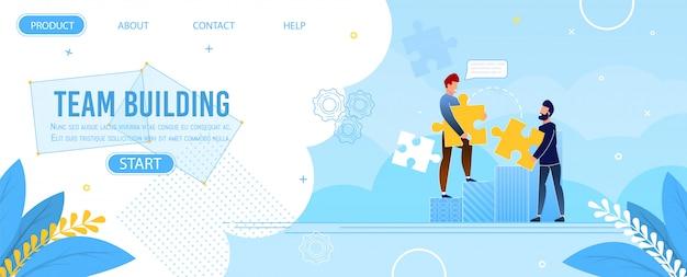 Rompecabezas de la página de inicio de team building Vector Premium