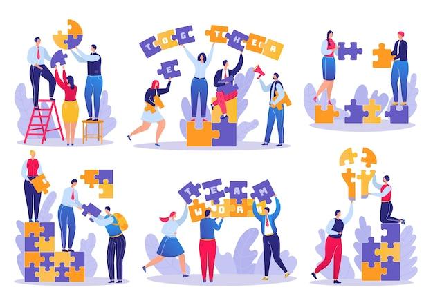 Rompecabezas de trabajo en equipo en negocios conjunto de ilustraciones. empresarios uniendo piezas de rompecabezas. estrategia exitosa en equipo. cooperación y soluciones corporativas, asociación creativa. Vector Premium