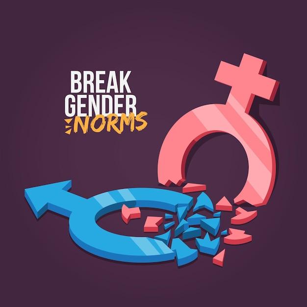 Romper el estilo de las normas de género vector gratuito