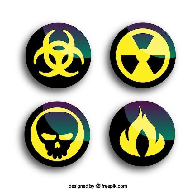 Ronda de advertencia de radiación Vector Premium