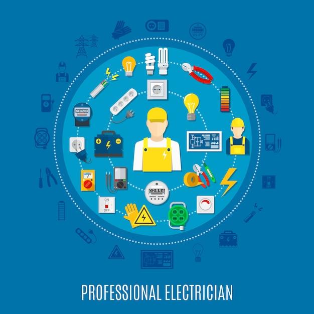 Ronda de electricista profesional vector gratuito