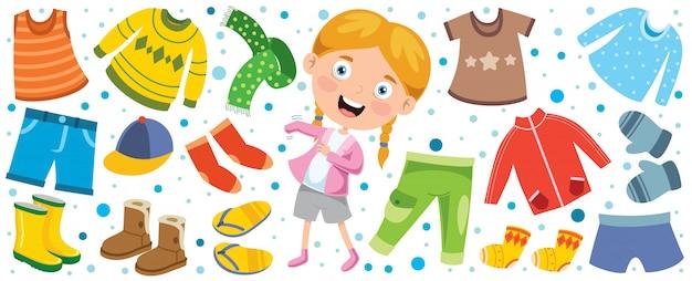 Ropa colorida para niños pequeños Vector Premium