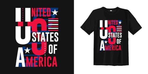 Ropa de diseño de camiseta de tipografía abstracta de estados unidos de américa Vector Premium