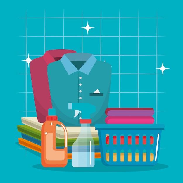 Ropa con iconos de servicio de lavandería. vector gratuito