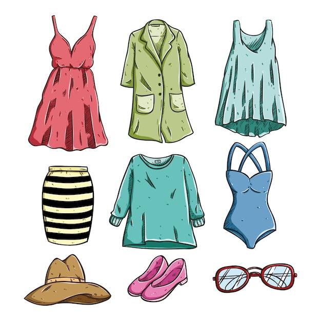 3d20d2403 Ropa de moda para mujer y accesorios con estilo de dibujo coloreado. Vector  Premium