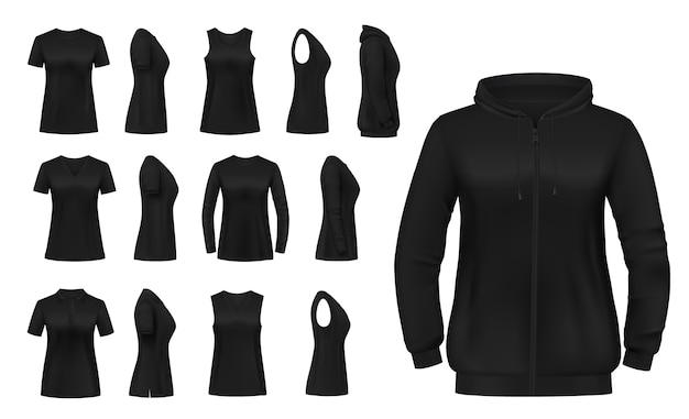 Ropa de mujer aislada camiseta, sudadera con capucha y camisetas de manga larga con ropa de singlete. Vector Premium