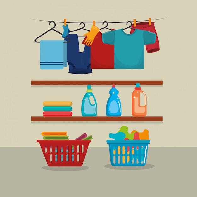 Ropa con servicio de lavandería. vector gratuito