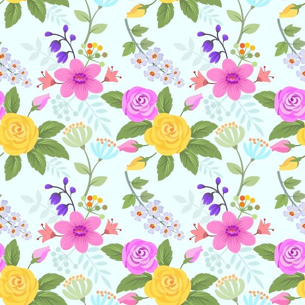 Rosa Y Flores De Patrones Sin Fisuras Papel Pintado De Tela Textil