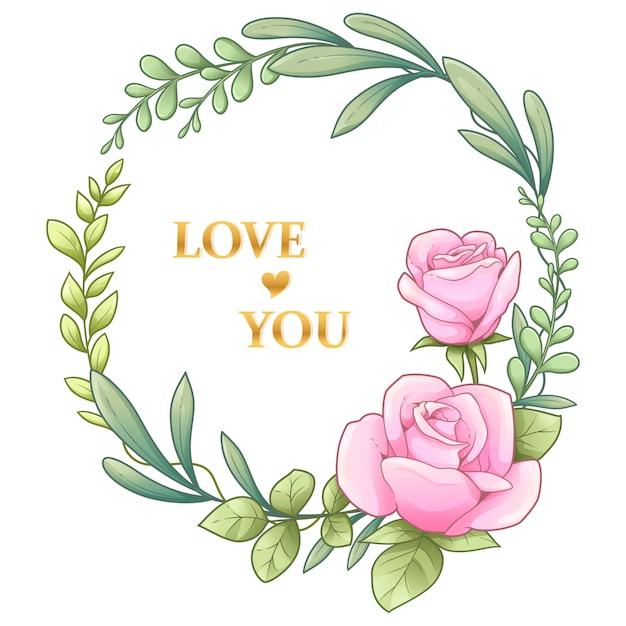 Rosa y hojas guirnalda - ilustración vectorial Vector Premium