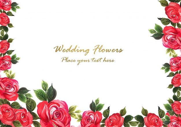 Rosa roja decorativa hermosa con plantilla de tarjeta vector gratuito