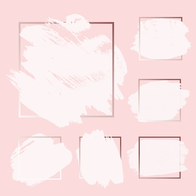 Rosa, rosa, dorado, pincel, tinta, pintura, trazo de tinta con fondos de marco cuadrado establecidos Vector Premium