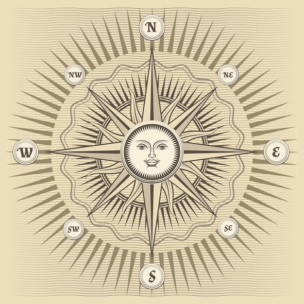 Rosa de los vientos vintage con el sol en el centro vector gratuito