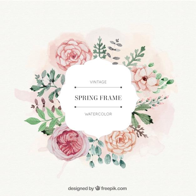 Rosas de la acuarela y hojas de cuadro de primavera | Descargar ...