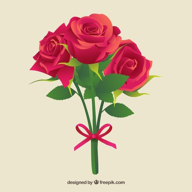 Rosas Bonitas Con Un Lazo Rosa Descargar Vectores Gratis