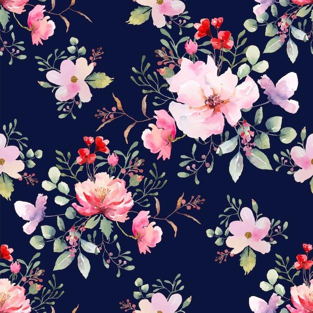 Rose flor de patrones sin fisuras fondo azul oscuro. ilustración acuarela dibujada. Vector Premium