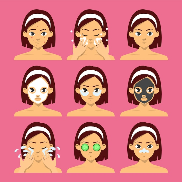 Rostro de mujer con diferentes tipos de máscara facial. mascarilla de pepino, procedimiento hidratante. higiene de la piel, mascarilla de arcilla y hoja para la belleza. Vector Premium