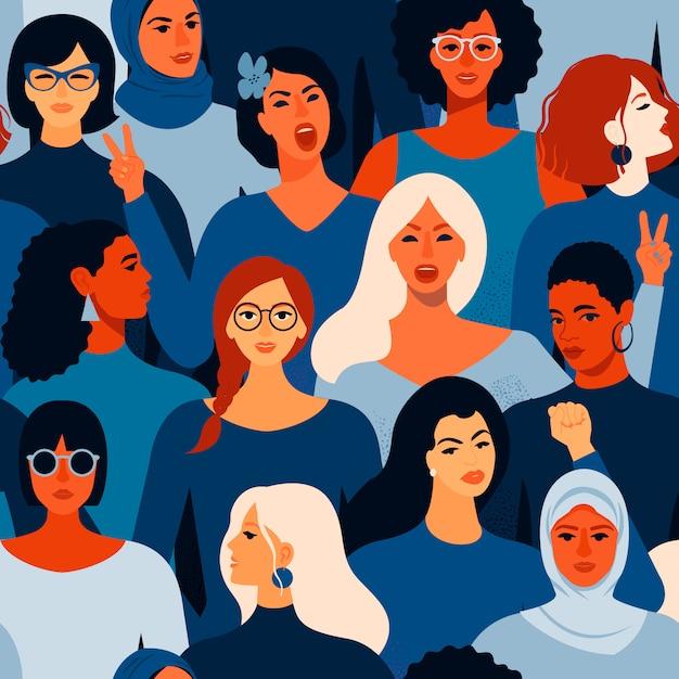Rostros femeninos diversos de patrones sin fisuras de diferentes mujeres. Vector Premium