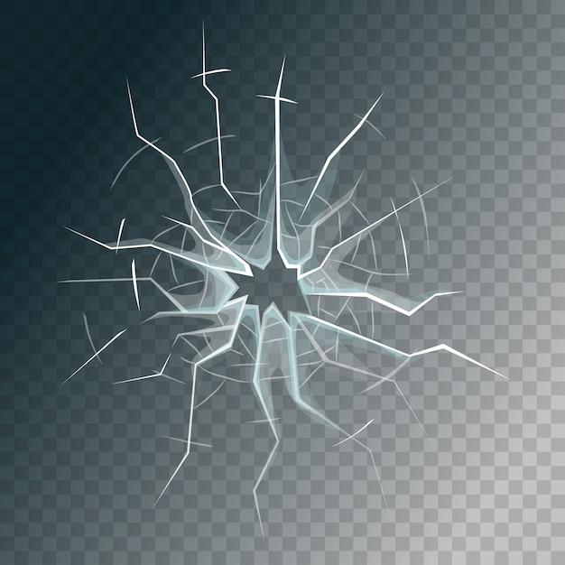 Roto el cristal de la ventana esmerilada o el cristal de la puerta delantera. Vector Premium