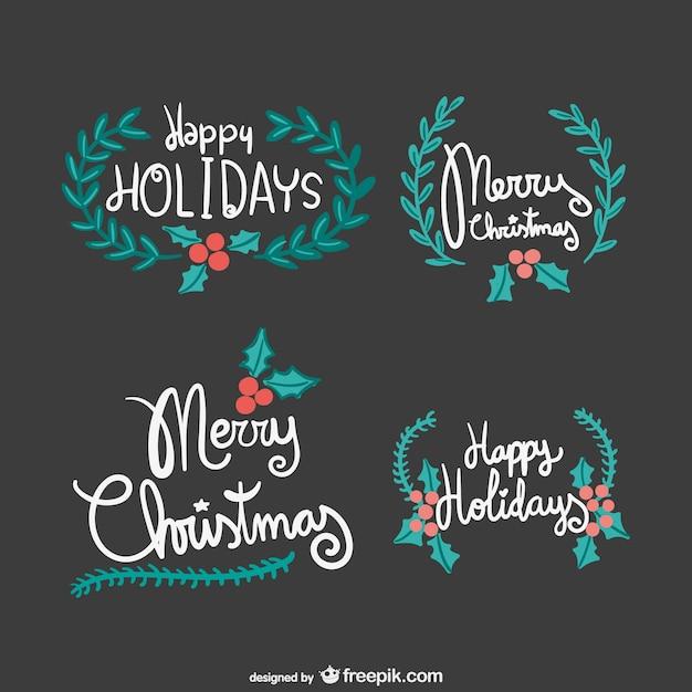 Feliz Navidad Rotulos.Rotulos Vintage De Feliz Navidad Descargar Vectores Gratis