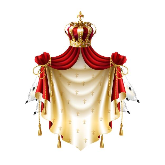 Royal baldachin con oro, corona, joyas y pieles aisladas sobre fondo blanco. vector gratuito