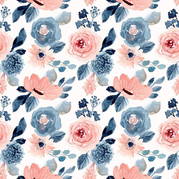Rubor azul floral acuarela de patrones sin fisuras Vector Premium