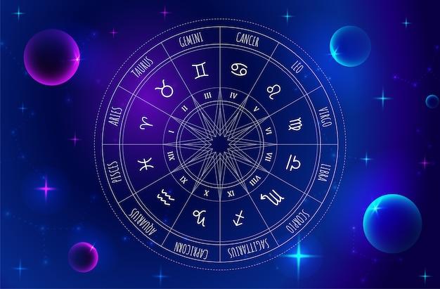 Rueda de astrología con los signos del zodíaco en el fondo del espacio exterior. misterio y esotérico. Vector Premium
